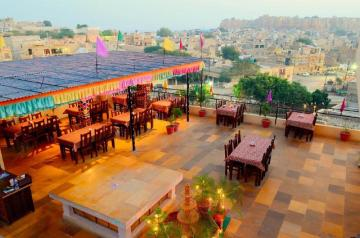 Rooftop at Hotel Prithvi Palace, one of the best budget accommodation options in Jaisalmer