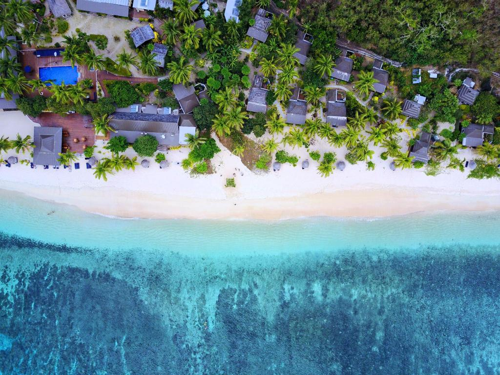 Aerial shot of beach in Fiji