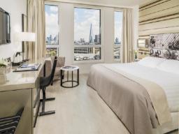 Soba s francosko posteljo in pogledom na mesto