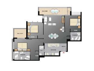 Meriton Serviced Apartments Aqua Street Gold Coast - 3 Bedroom Apartment