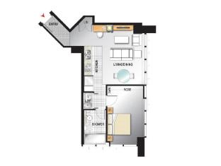 Meriton Serviced Apartments Adelaide Street Brisbane - Modern Suite with 1 Bedroom